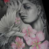 Grafito y policromo sobre papel